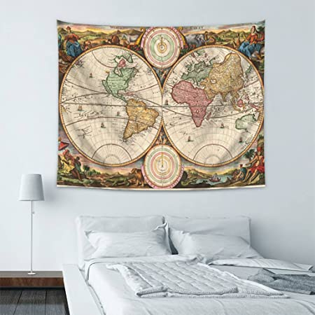 Wondertify old world map vintage world map 14 tapestry wall hanging wondertify old world map vintage world map 14 tapestry wall hanging bedspread dorm tapestry decorative wall gumiabroncs Choice Image