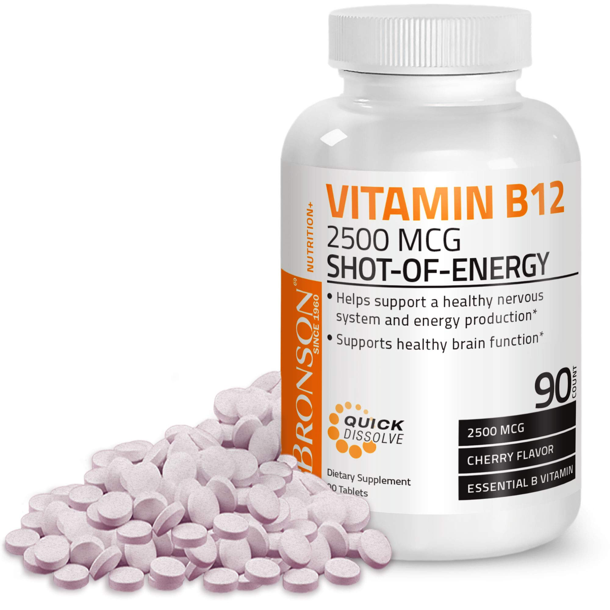 Vitamin B12 2500mcg Shot of Energy Fast Dissolve Chewable Tablets - Quick  Release Cherry Flavored Sublingual B12 Vitamin - Supports Nervous System,  Healthy Brain Function Energy Production – 90 Count- Buy Online