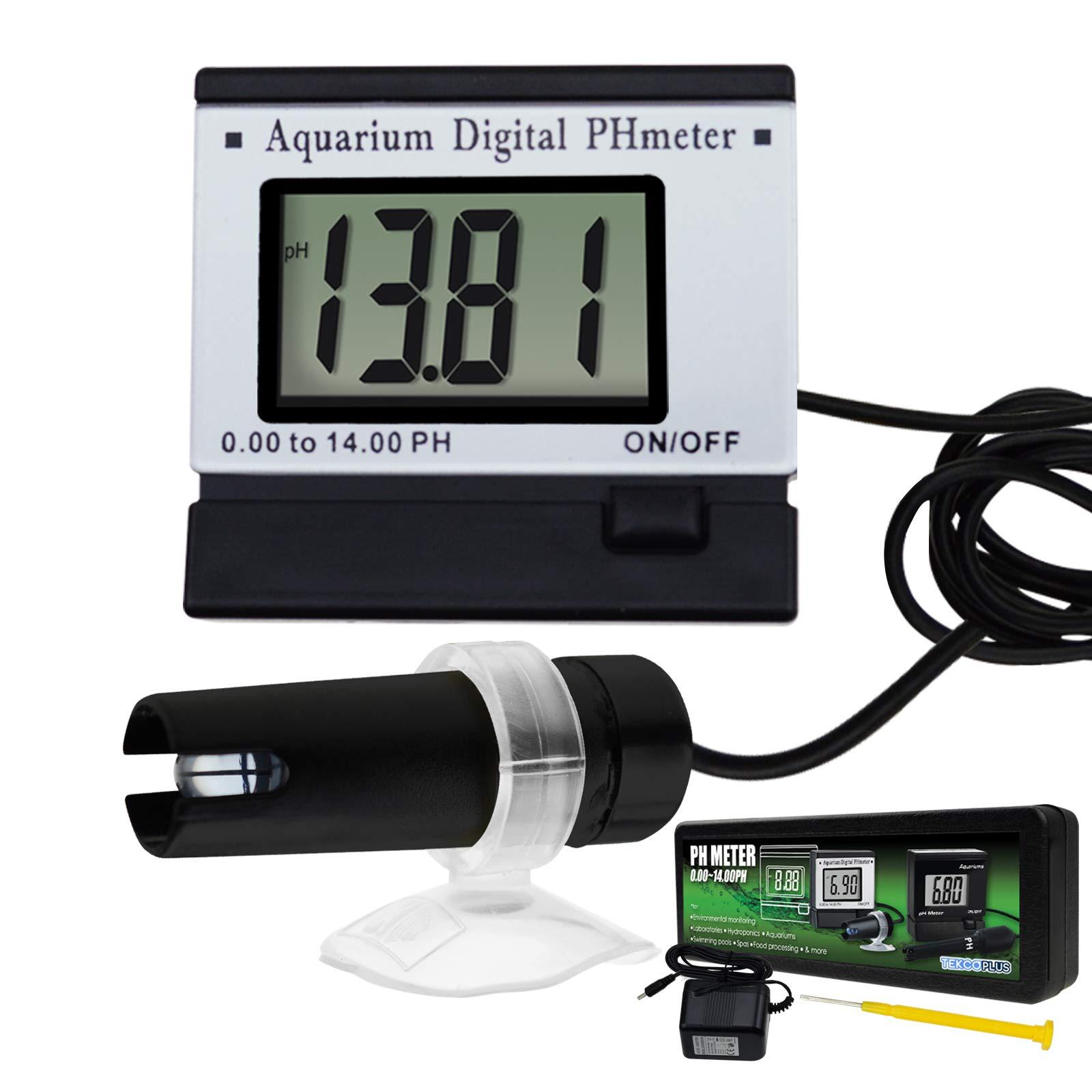 Digital pH LCD Water Quality Meter ATC 0~14.00pH Tester Monitor 1.5m/4.9ft Replaceable BNC Electrode Probe Adjustable Mounting Bracket Aquarium Tank Waterproof w/Adaptor
