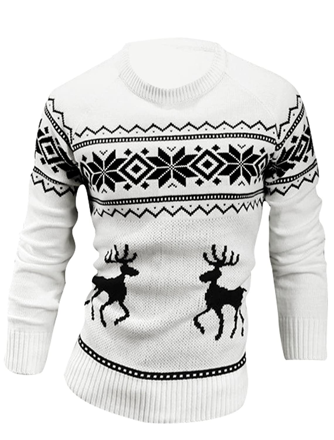 Man Round Neck Long Sleeve Stretchy Pullover Deer Pattern Sweater