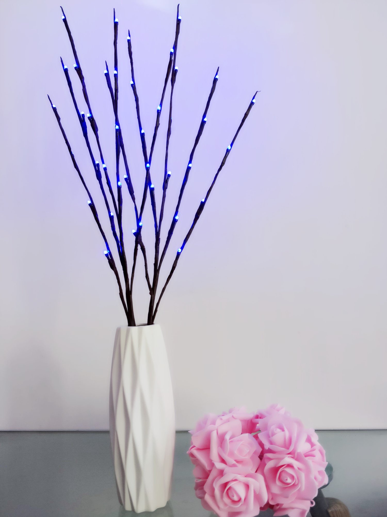 Fantasee 2 Pack 76cm Branch Twig Light LED Tree Branches Light Flexible Branch Decoration Light for Indoor Shop Windows Vase Table Living Room, 4 Colors available (2 Pack, Blue)