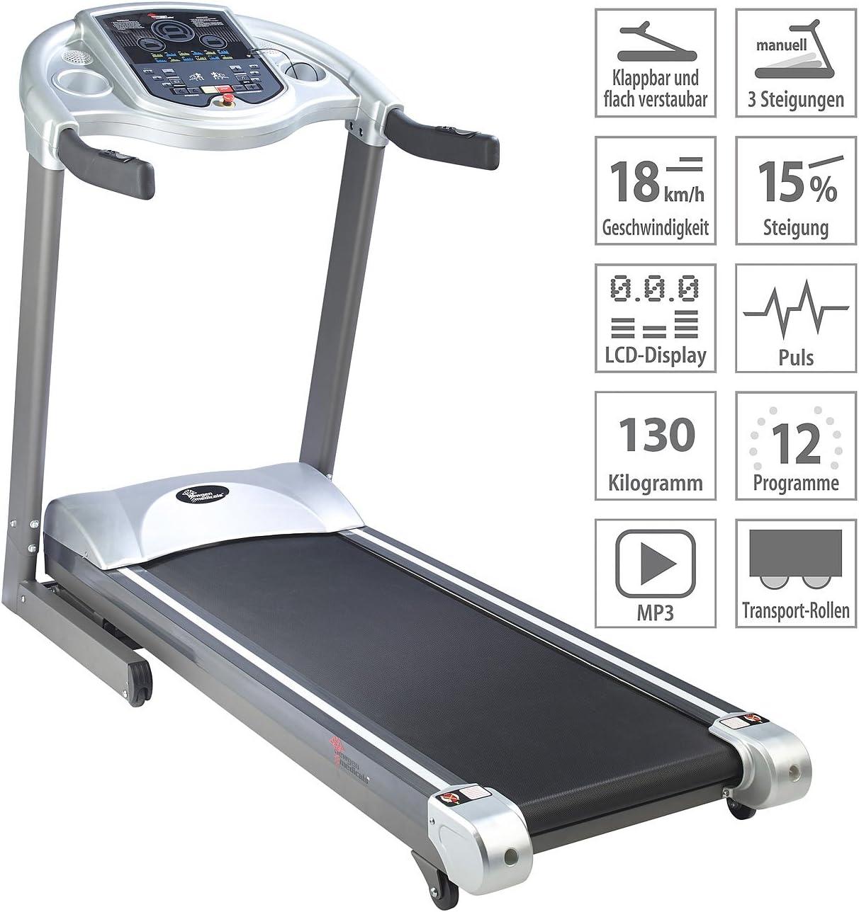 Einsteiger Laufband Profi-Laufband LF-712.Speed mit 12 Programmen und Pulsmesser newgen medicals Laufband Heimtrainer