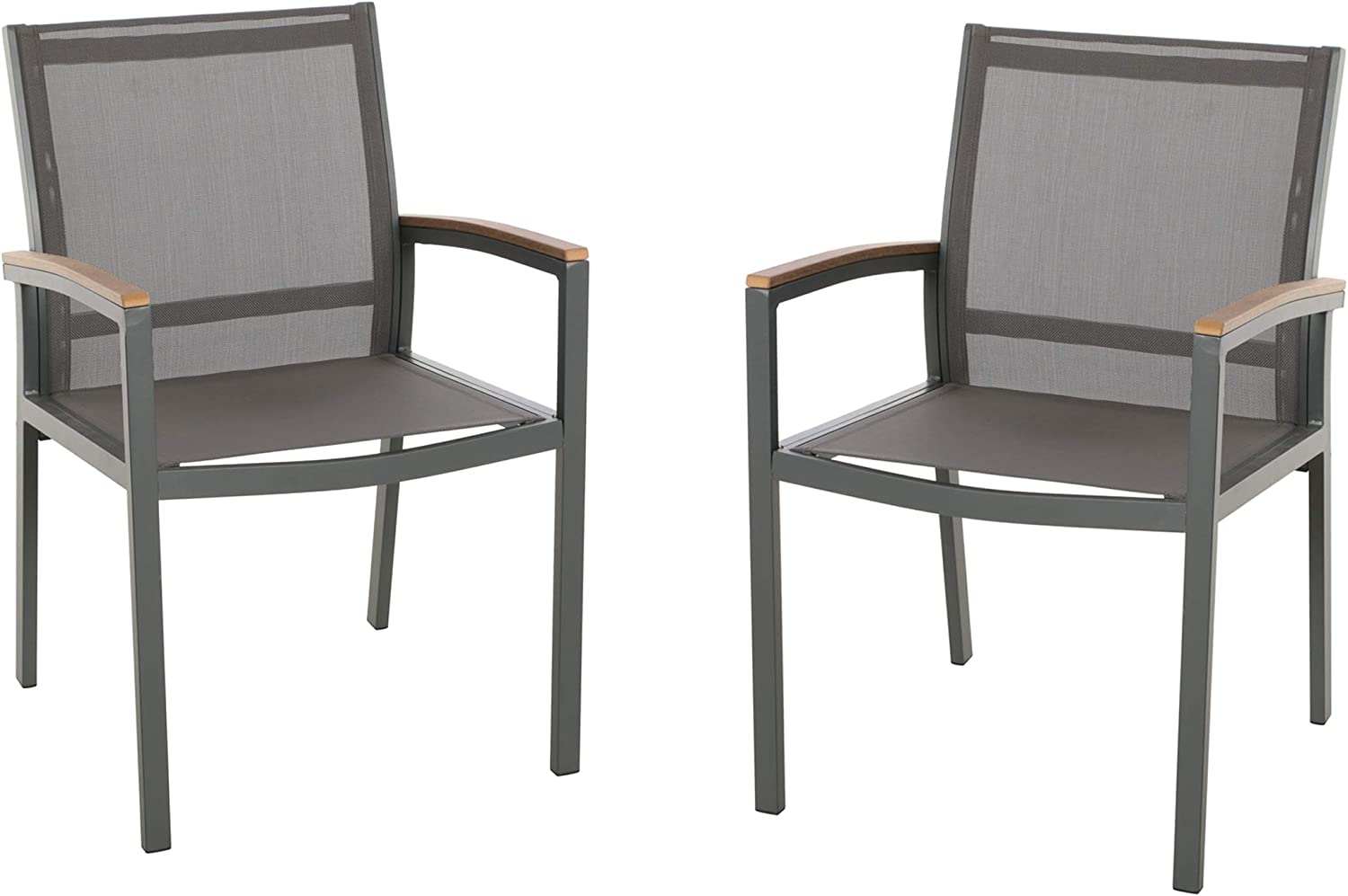 Christopher Knight Home 305223 Emma Outdoor Mesh and Aluminum Frame Dining Chair Set of 2 , Gray