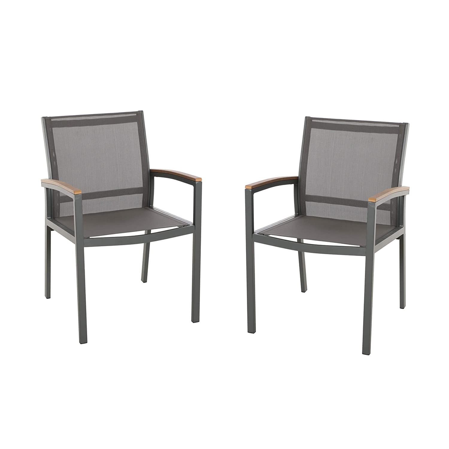 Amazon com great deal furniture emma outdoor mesh and aluminum frame dining chair set of 2 gray garden outdoor