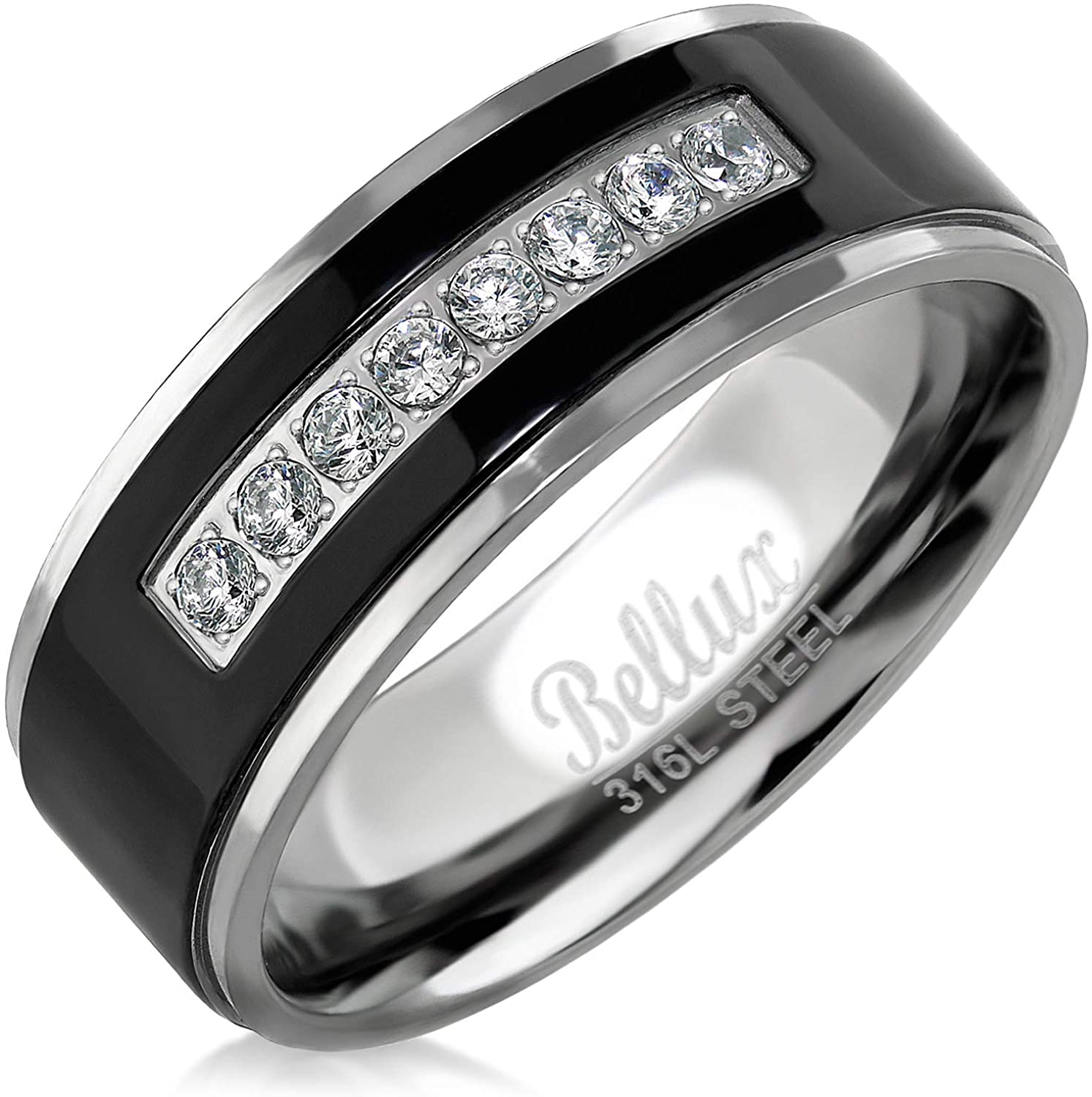It is just a graphic of Mens Wedding Bands Stainless Steel Promise Rings for Him Silver Black Comfort-Fit Engagement Jewelry