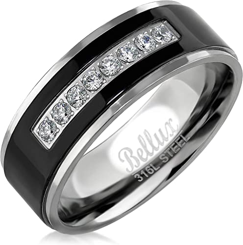 Bellux Style Stainless Steel Mens Wedding Bands Promise Rings For