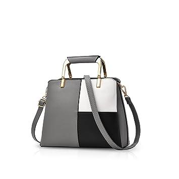 NICOLE&DORIS Frauen Farbe Einfache Handtaschen Umhängetasche Crossbody Messenger Bag Tote Schultasche für Lady PU Leder Dunkelgrau