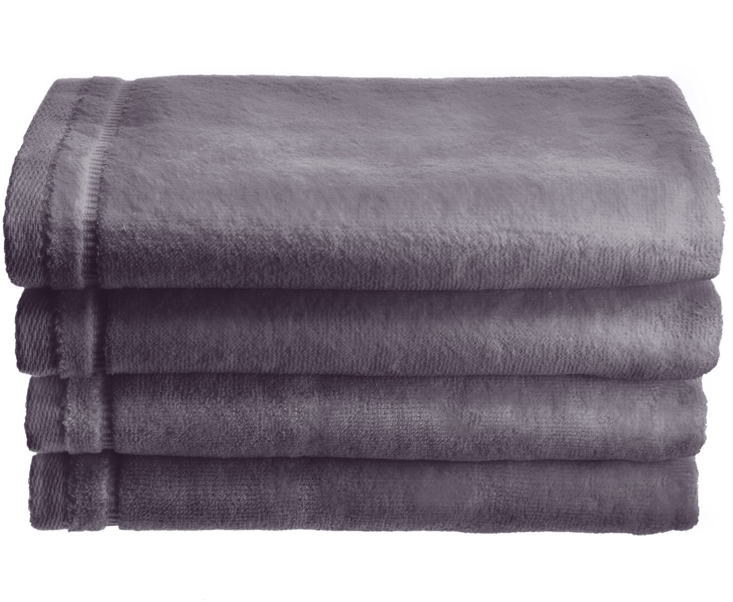 Creative Scents Cotton Velour Fingertip Towel, 4 Piece Set, 11 by 18-Inch, Gray with Embroidered Grey Trim