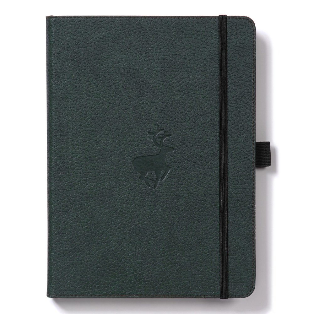 Dingbats Wildlife Dotted Hardcover Notebook - PU Leather, Perforated 100gsm Ink-Proof Paper, Pocket, Elastic Closure, Pen Holder, Bookmark (Green Deer, XL A4+ (8.5 x 11.8))