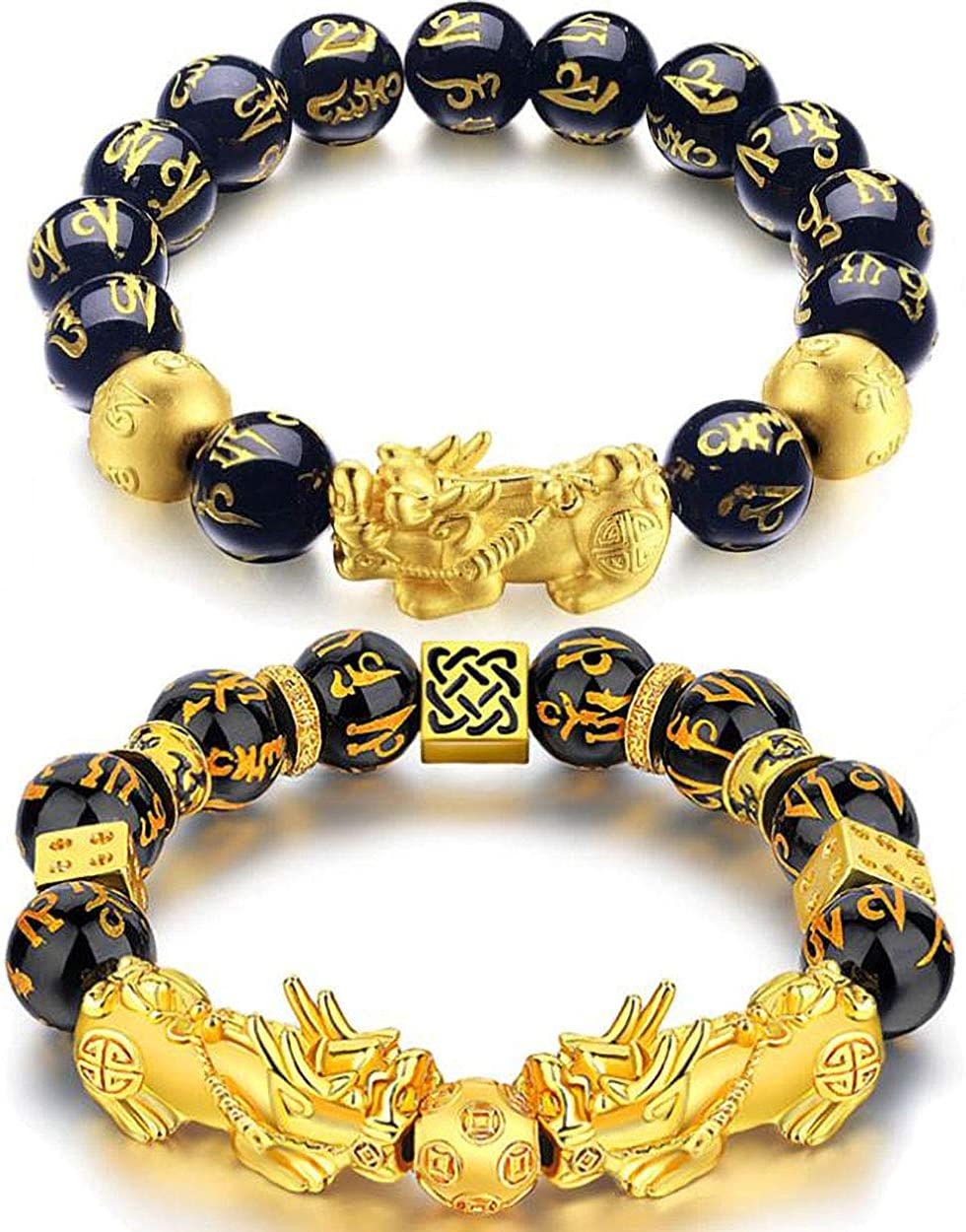 JEWPARK 1-4 Pcs Feng Shui Good Luck Bracelets for Men Women Obsidian Bead Dragon Lucky Charm Bracelet Pixiu Pi Yao Attract Wealth Money Feng Shui Jewelry