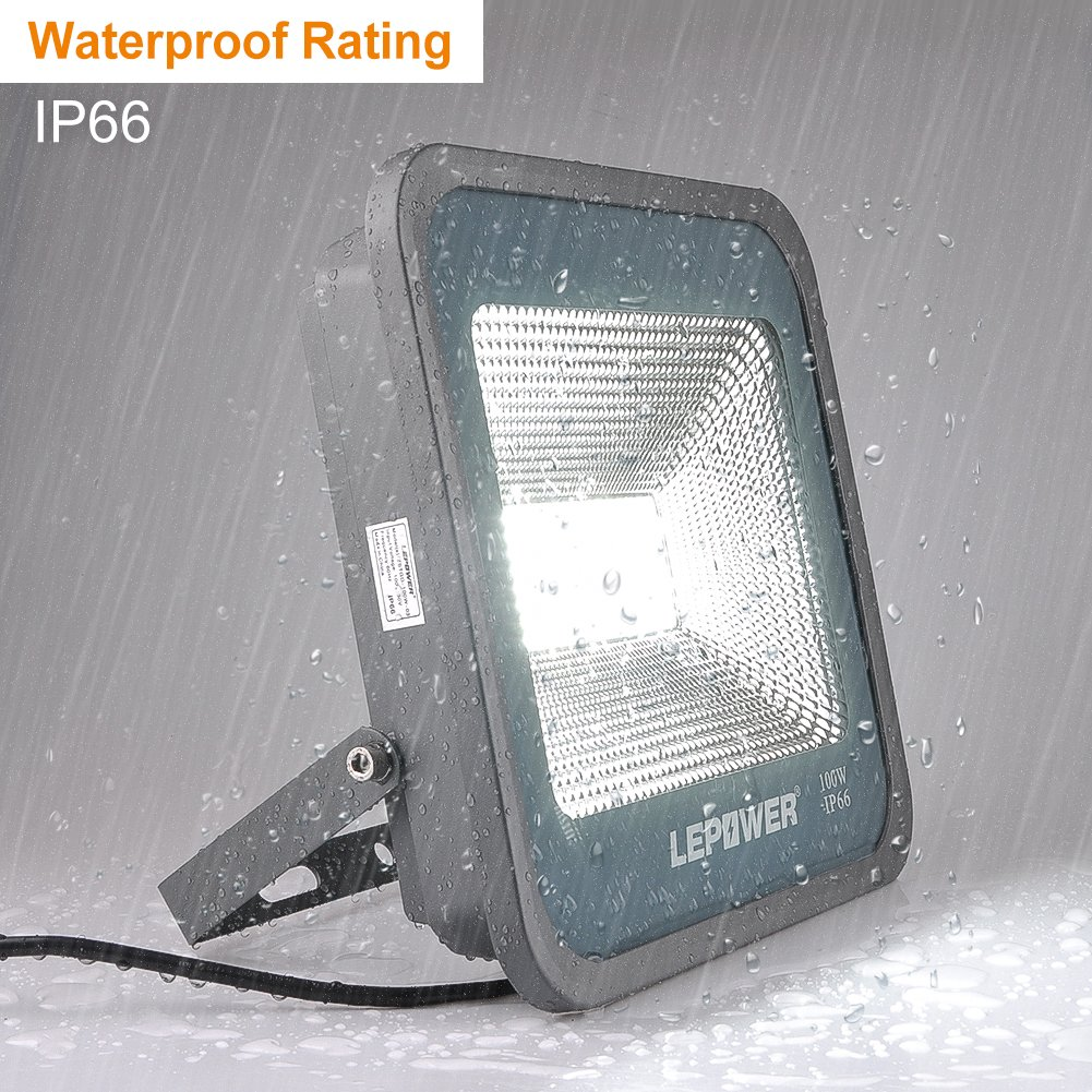 LEPOWER 2 Pack 100W LED Flood Light, 10000lm Super Bright Work Light with Plug, 6000K White Light, IP66 Waterproof Outdoor Floodlight for Garage, Garden, Lawn,Basketball Court,Playground by LEPOWER (Image #4)