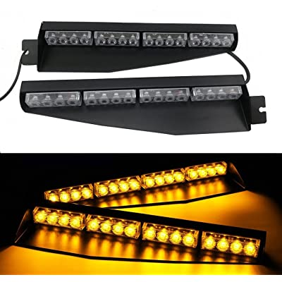 TASWK 32LED 32W LED Lightbar Visor Light Windshield Emergency Hazard Warning Strobe Beacon Split Mount Deck Dash Lamp (Amber): Automotive
