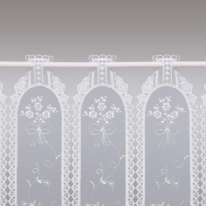 Landhaus-Stickerei-Scheibengardine Farah Echte Plauener Luftspitzen-Stickerei