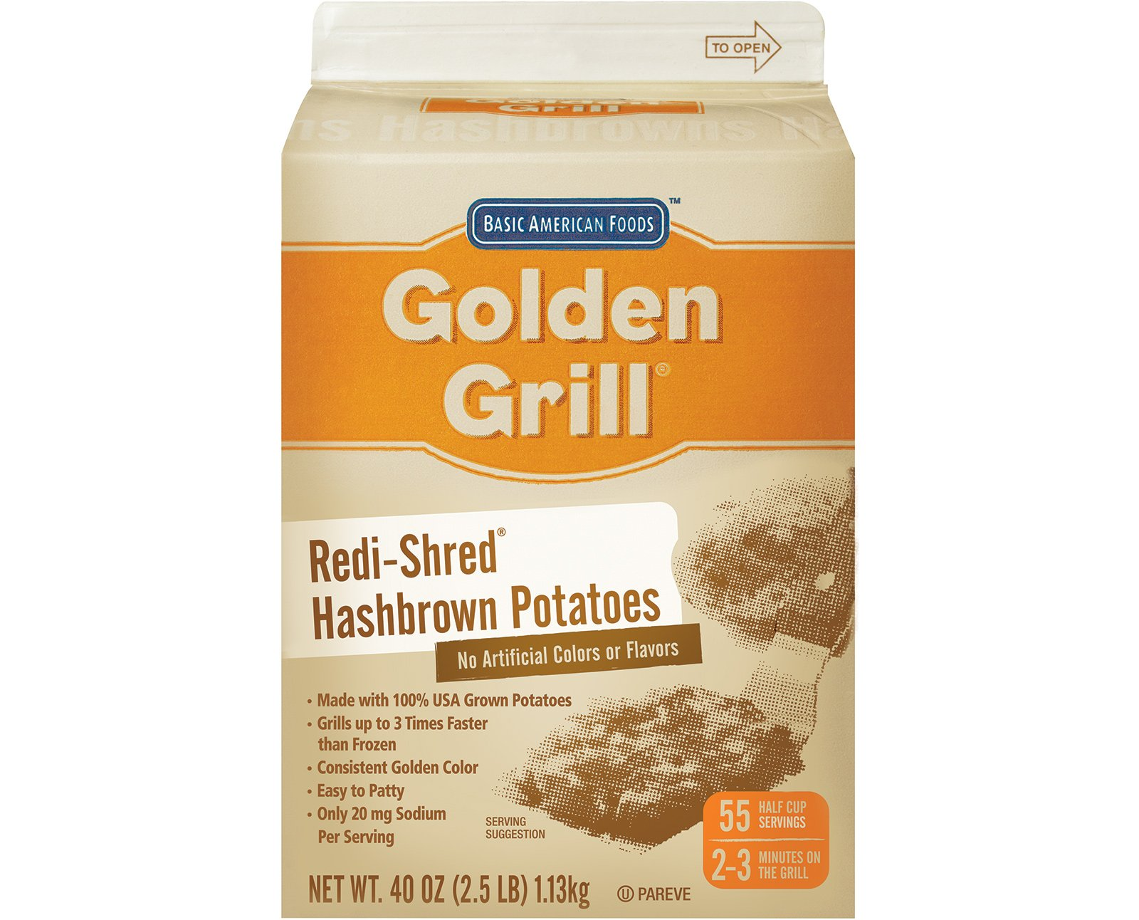 Golden Grill, Redi-Shred Hashbrown Potatoes, No Salt Added Low Sodium, 2.5 lbs. (6 Count)