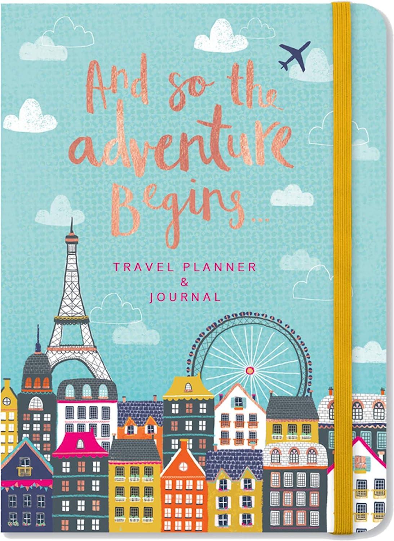 Planificador de viaje y diario de cubierta suave con 4 secciones con pesta/ñas y as/í comienza la aventura.