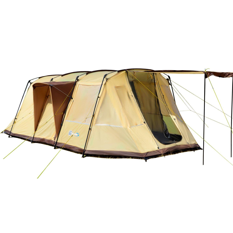 Skandika Nordland 4-Personen Familien Tunnel Campingzelt, mit fest eingenähtem Zeltboden, 200 cm Stehhöhe, 5000 mmWassersäule,