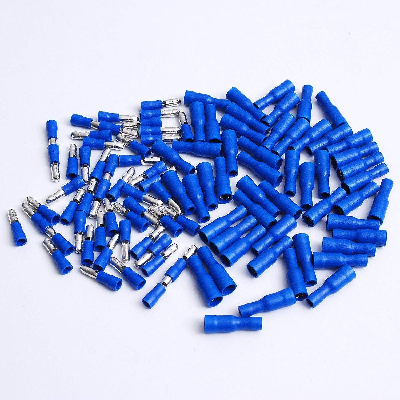 100 Female Vinyl Bullet Terminal Connector Blue 16-14GA AWG Gauge 0.156/'/' Crimp