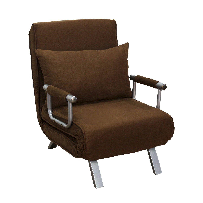 HomCom 26'' Convertible Single Sleeper Chair Bed - Brown