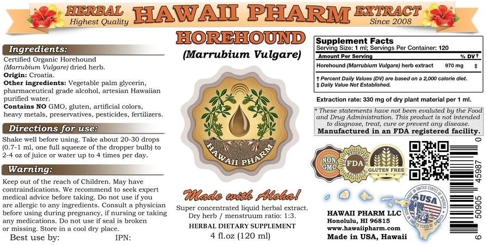 Horehound Marrubium vulgare Liquid Extract 15×4 Oz