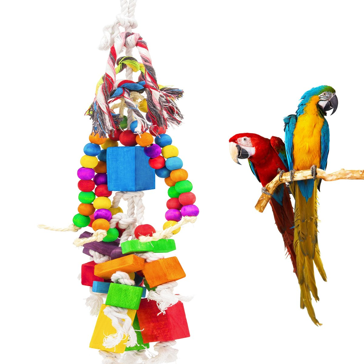 MEWTOGO Large Parrot Toy - Multicolored Wooden Blocks and Rope Tearing Toys Suggested for African Grey Cockatoos, and a Variety of Amazon Parrots.