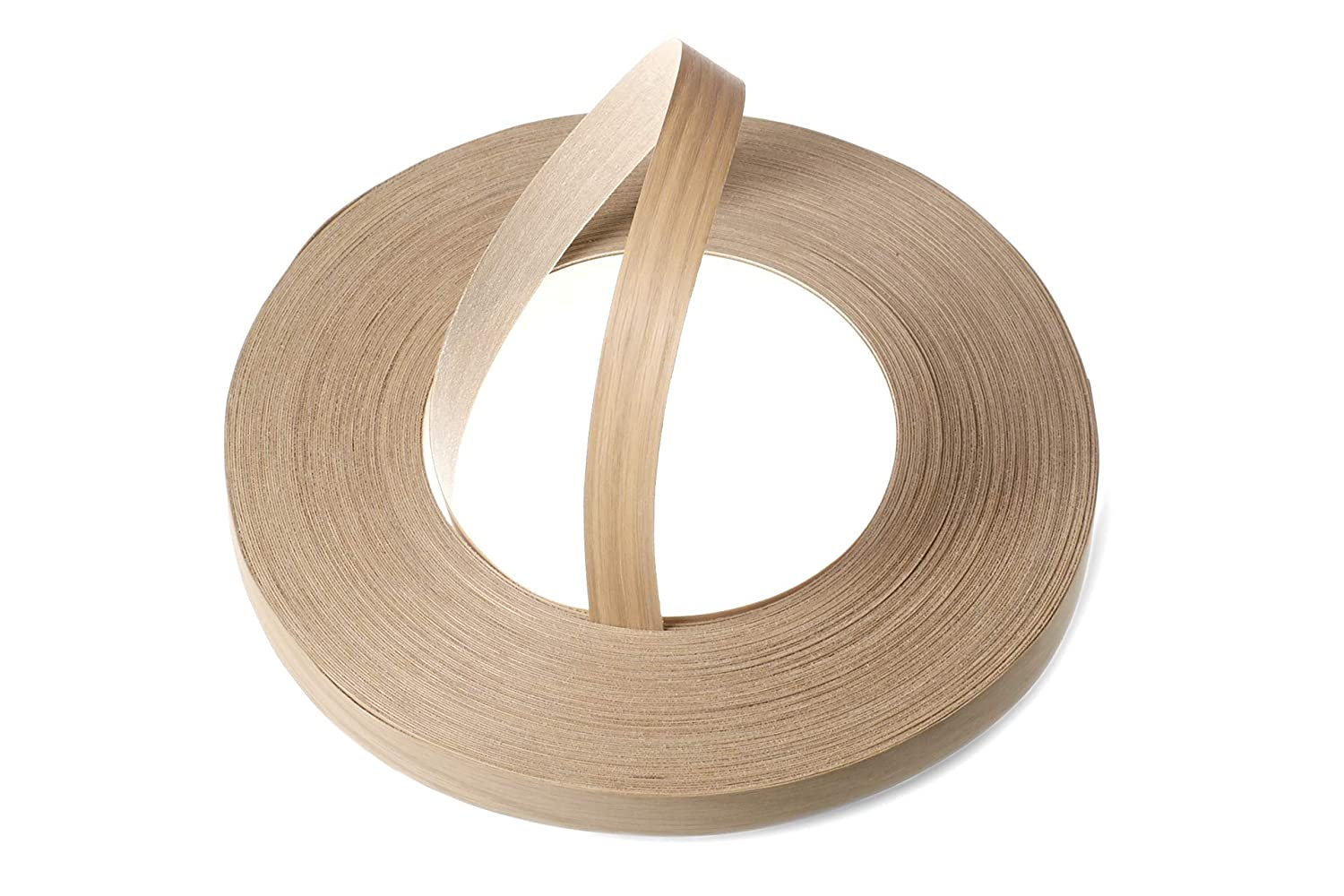 Oak Wood Veneer Edging / Veneer Edge Banding Tape (22mm width x 50m length) - Superior Grade Pre-Glued DIY Iron-On (Hotmelt) Fleeced & Sanded Veneer Edging Rolls WoodPress