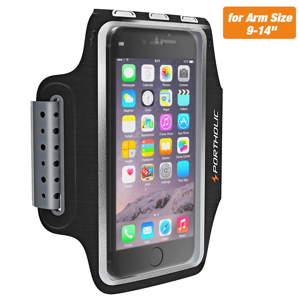 Sweat Resistant Armband Fits iPhone X 8 7 6 6s Plus, PORTHOLIC Phone Running Sport Workout Case for Samsung Galaxy S9 + s8 s7 s6 Edge, Note 8 5 LG G6 [Stretchy] Key/Card Holder, for 7-18 Inch Arm