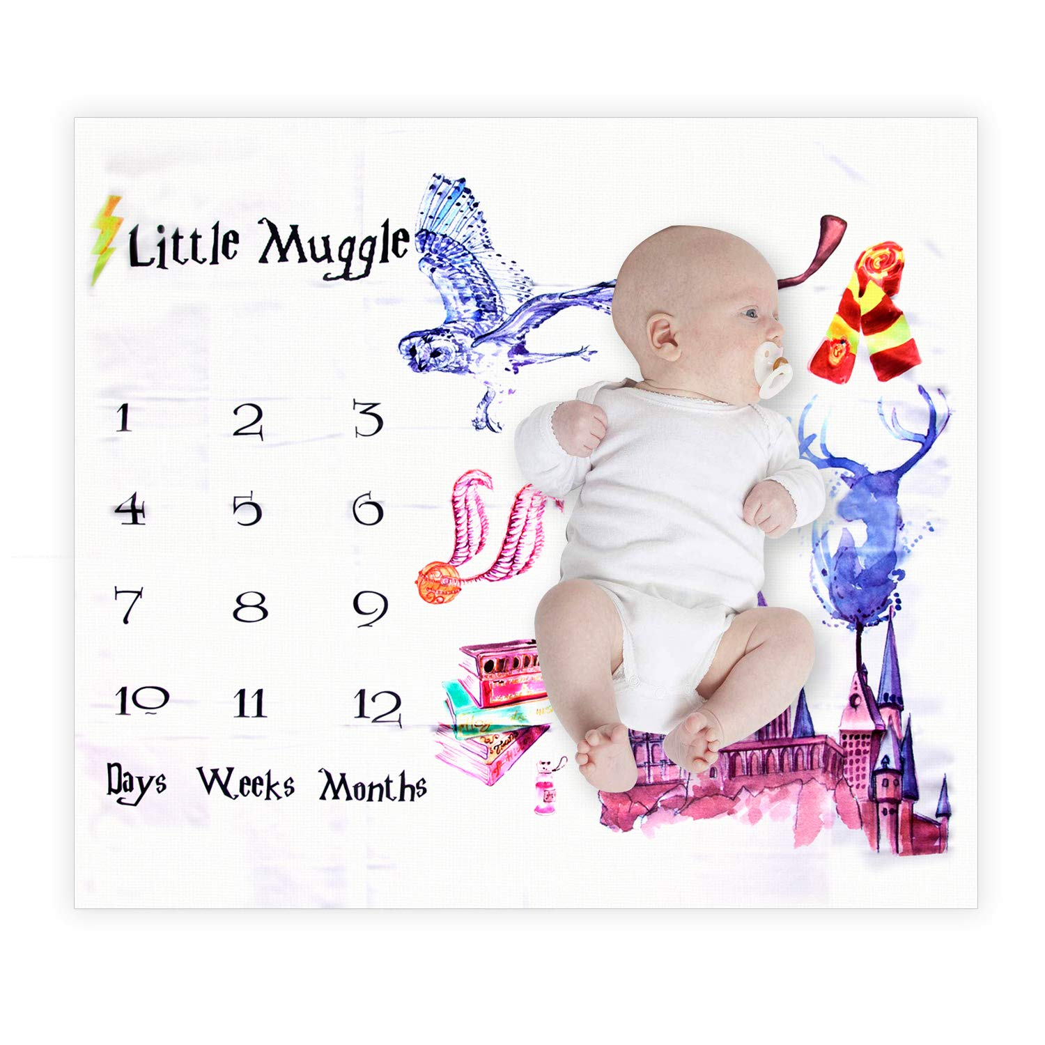 Angmart Baby Baby's First Year Milestone Blanket Photography Backdrop Photo Prop for Boys & Girls, Unique for New Moms