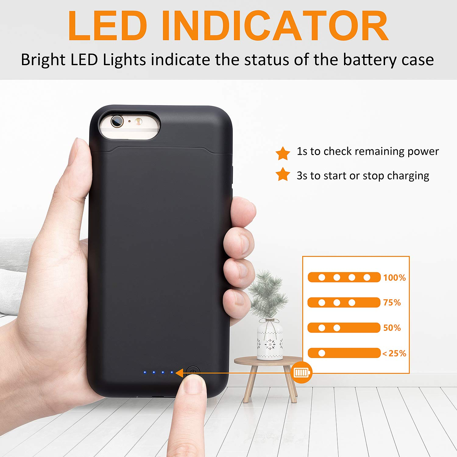 LCLEBM Battery Case for iPhone 6 Plus/ 6s Plus (5.5 inch), 8500mAh High Capacity Extended Battery Charger Case, Portable Protective Charging Case Compatible with iPhone 6 Plus/6s Plus - Black by LCLEBM (Image #6)