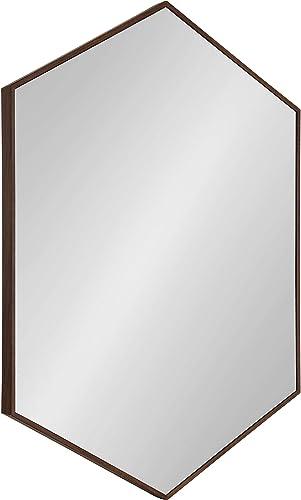 Kate and Laurel Rhodes Framed Hexagon Wall Mirror, 25×37, Walnut Brown