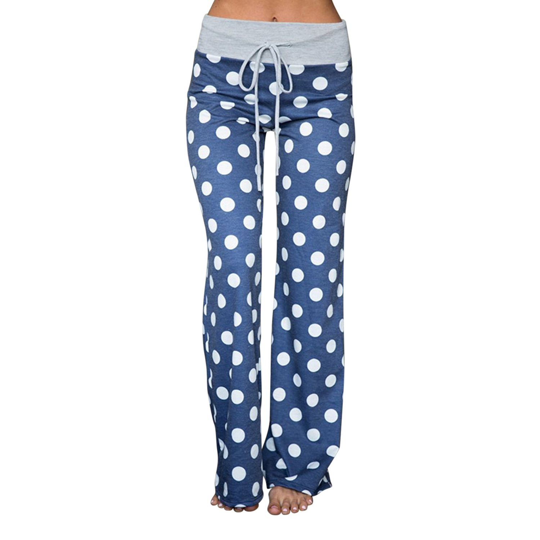 Fashion Story Stretch Cotton Pajama Lounge Pants Polka Dot Sleepwear Yoga Pant B12901