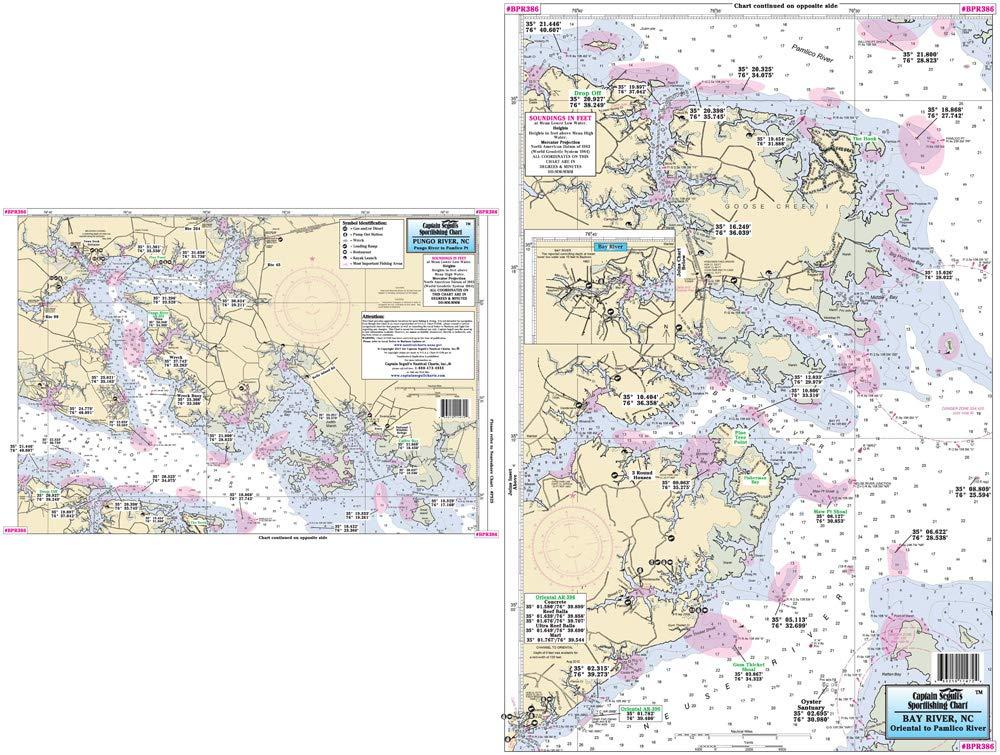 Captain Segull's Inshore Pungo River/Bay River to Oriental, NC Fishing Nautical Chart