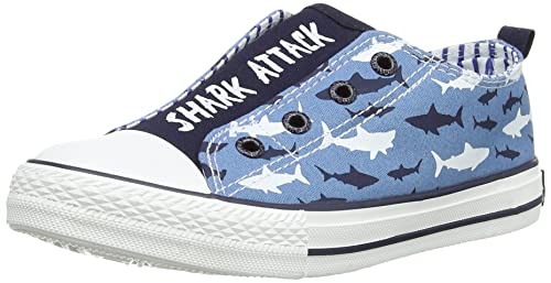 Hatley Sharks - zapatillas de lona niño, Blau, 3 uk: Amazon.es: Zapatos y complementos