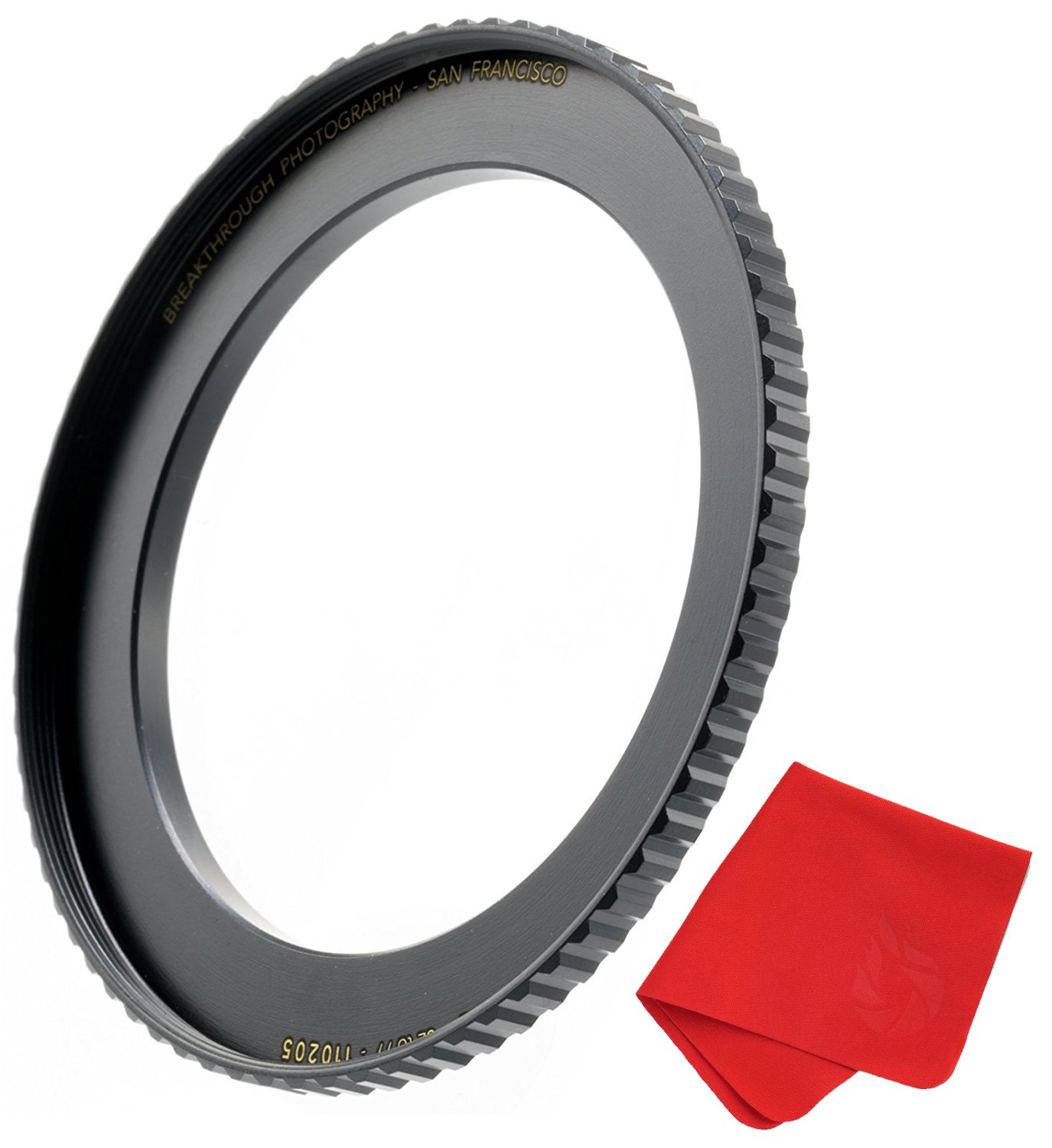 Breakthrough Photography 77mm to 82mm Step-Up Lens Adapter Ring for Filters Made of CNC Machined Brass with Matte Black Electroplated Finish