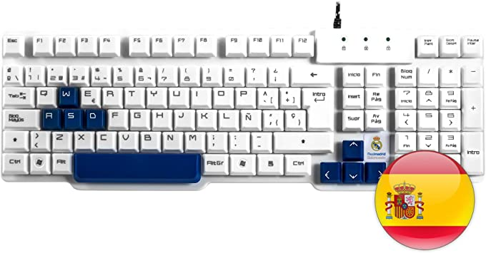 Mars Gaming MKRM, Teclado Gaming Oficial Real Madrid, USB, PS4/XBOX/SWITCH/PC