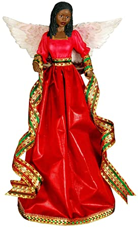 amazoncom tiffany red african american christmas tree topper home kitchen - Christmas Angel Tree Topper