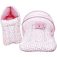 RBC RIYA R Baby Mattress with Mosquito Net & Sleeping Bag Combo 0-6 Months (0-6 Months, Pink)
