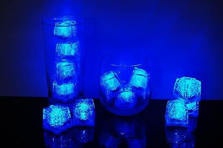 set of 12 litecubes blue light up led ice cubes amazon co uk