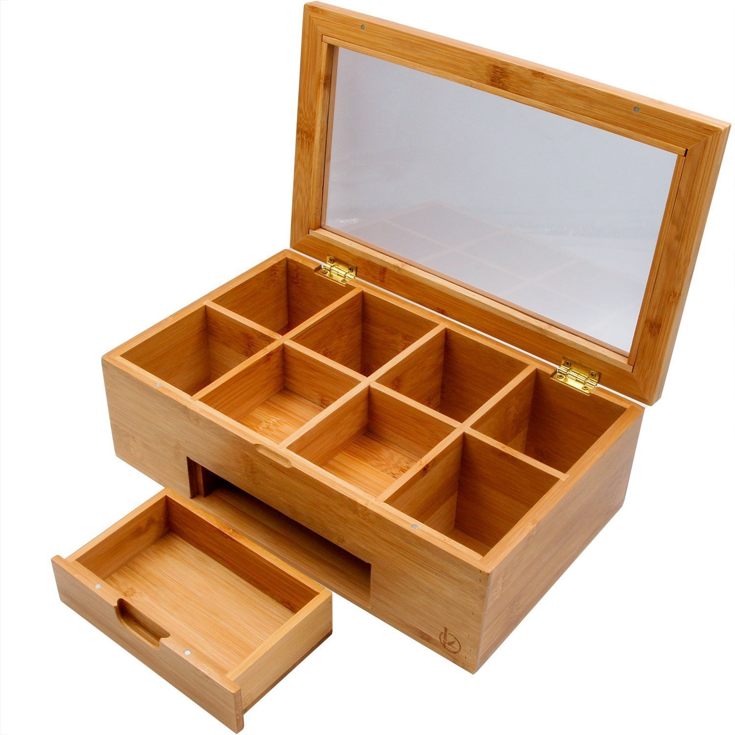 Bamboo Tea Box Natural Chest Storage Organizer with Slide Out Drawer, 8 Compartments - Great Gift Idea