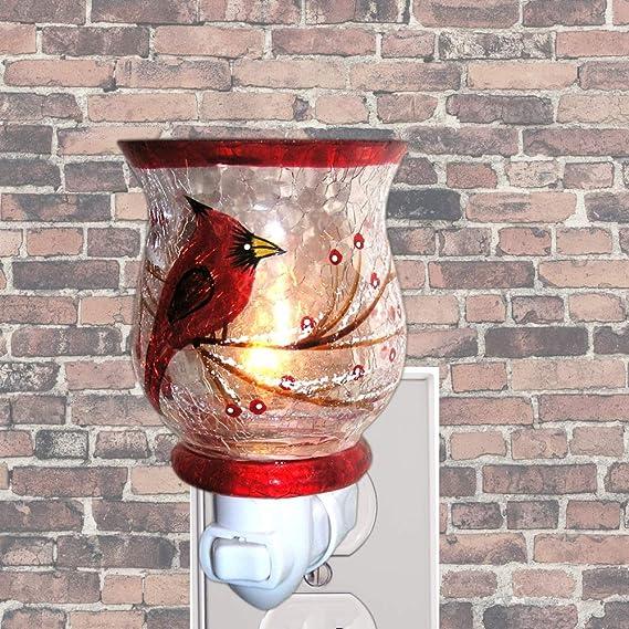 Hand painted Glass Shade Red Cardinal Bird Night Light Songbirds Banberry Designs 2179