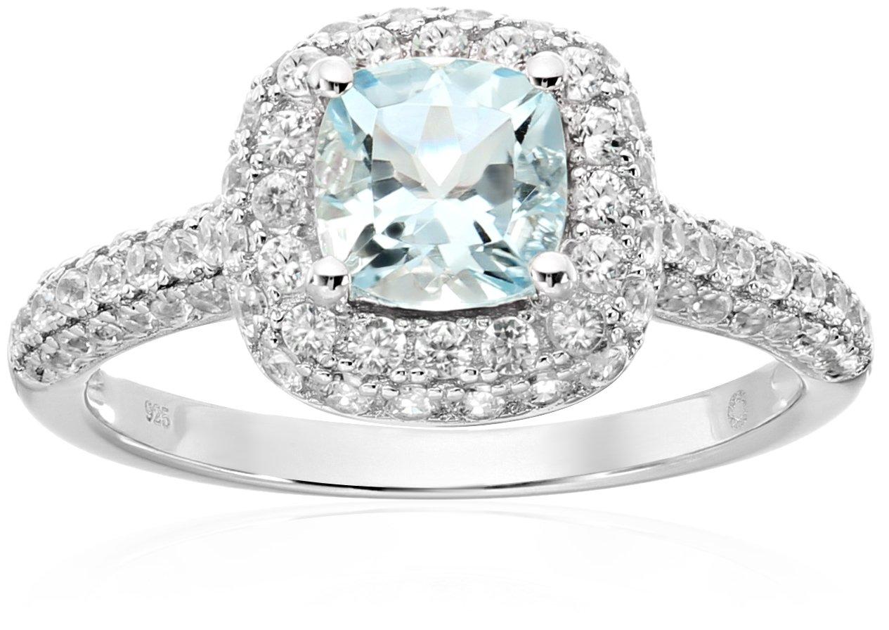 Sterling Silver Aquamarine Cushion Halo Engagement Ring, Size 7