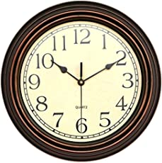 office wall clocks. Foxtop 12 Inch Silent Non-ticking Wall Clock Battery Operated Vintage Style, Round Ultra Office Clocks