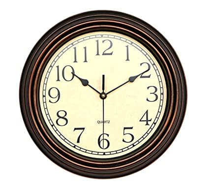 Foxtop 12 Inch Silent Non Ticking Wall Clock Battery Operated Vintage  Style, Round Ultra