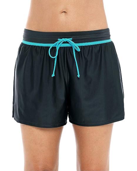 8275fdc1c4e Sociala High Waist Swim Shorts Women Stretch Tankini Bottoms Loose Boardshorts  M