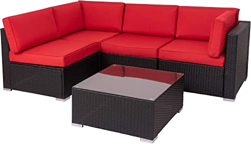 Walsunny Outdoor Black Rattan Sectional Sofa