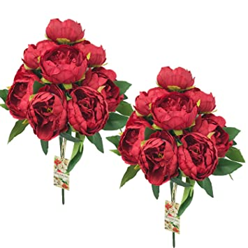 Amazon Dalamoda Red 2 Bundle 20 Flower Heads Artificial Peony