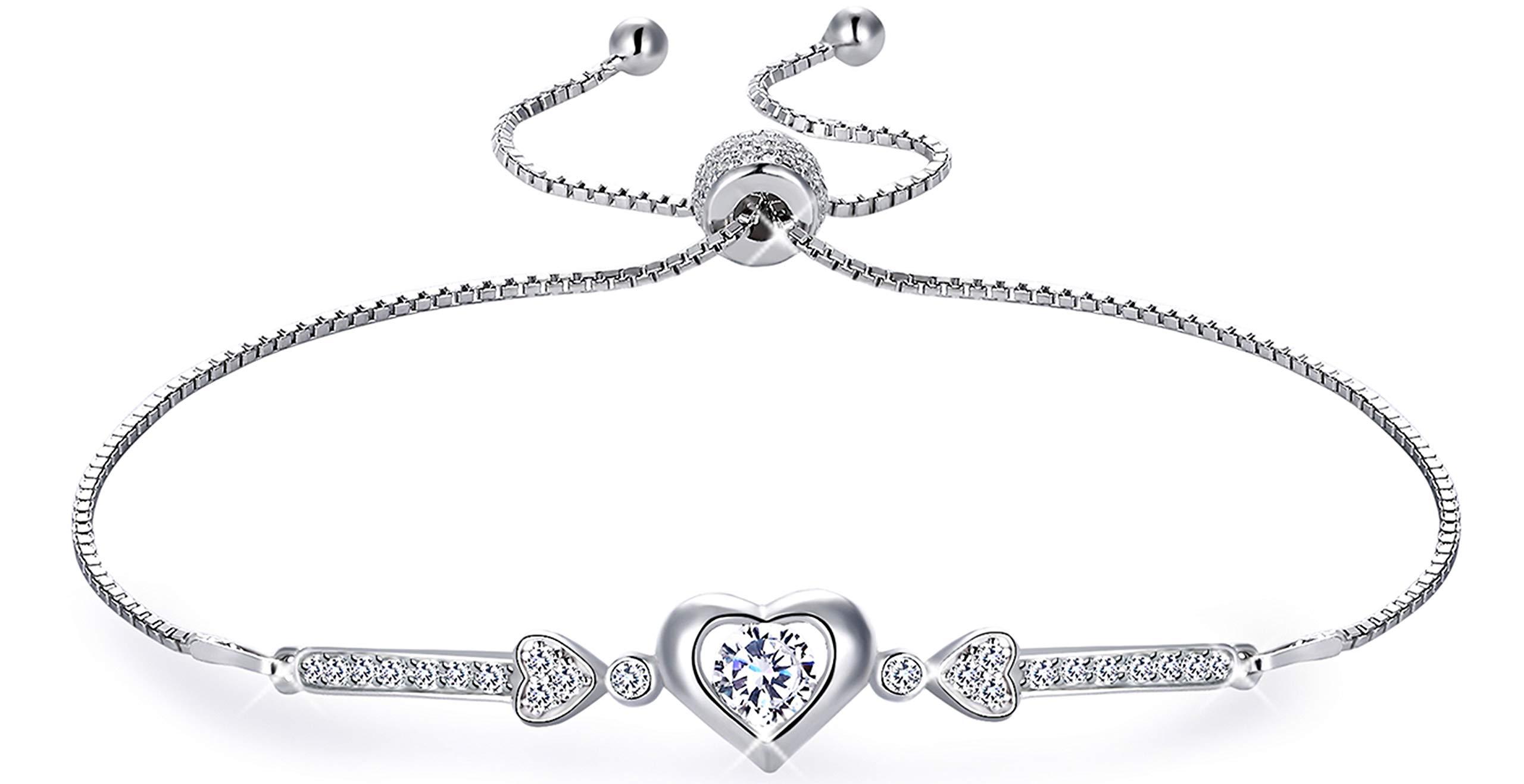 MUATOGIML 925 Sterling Silver Adjustable Love Heart of Cupid's Arrow Charm Bracelet for Women Girl