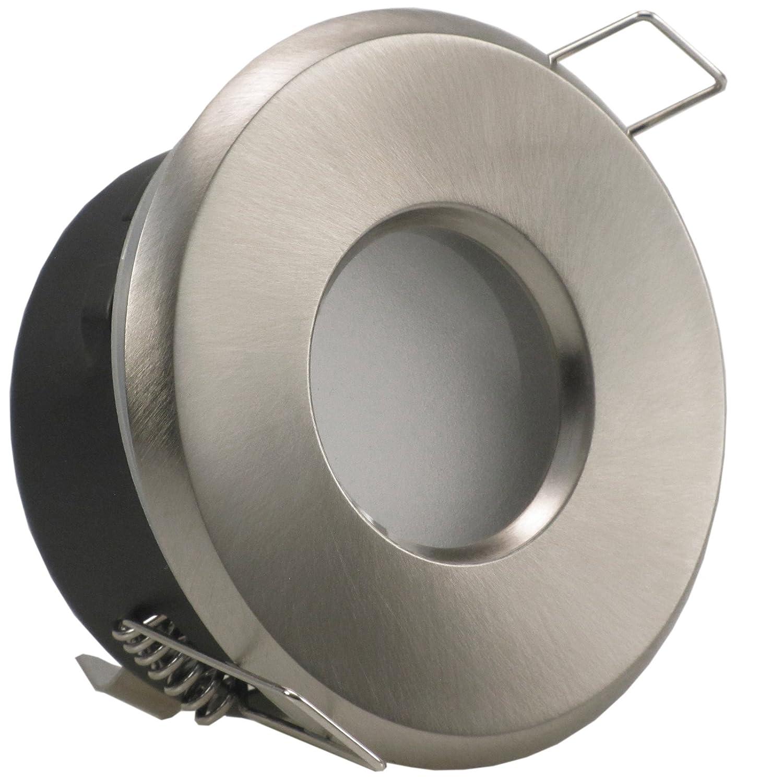 MERANO rund IP65 Edelstahl Optik geb/ürstet 5er Set Decken Einbaustrahler ultra flach 50 mm 230V LED dimmbar ca 5W in 3 Stufen dimmen ohne Dimmer Warmweiss 3000k Bad Feuchtraum