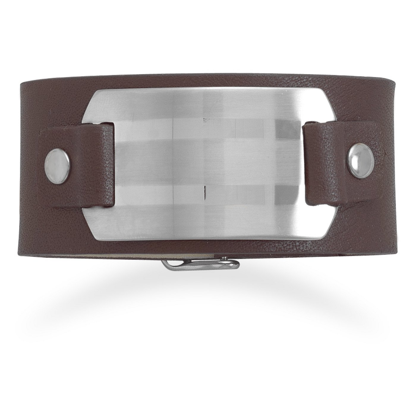 Suzy B Accessories 7-8.25 Leather Bracelet with Stainless Steel ID Plate