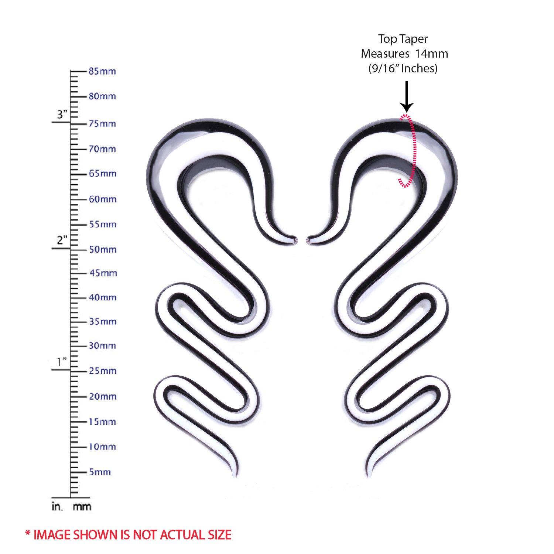 BodyJ4You 2PC Glass Ear Tapers Plugs 4G-16mm Glow Dark Twist Zigzag Gauges Piercing Jewelry