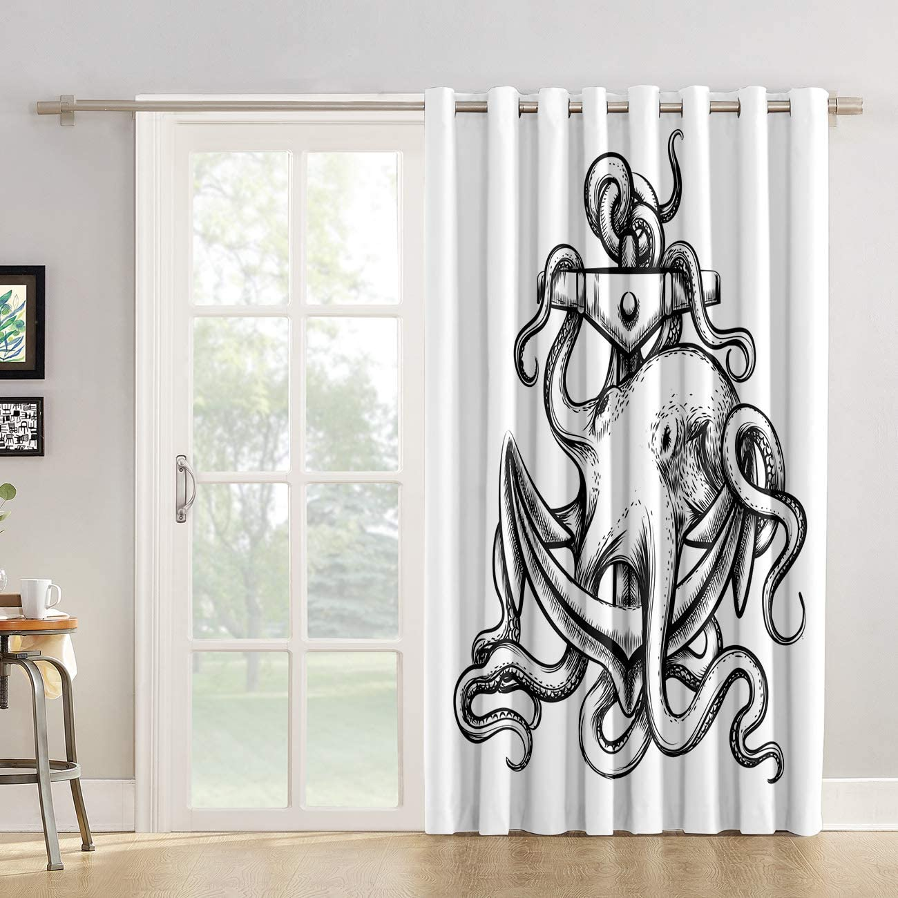 Red Vow Kitchen Tier Curtains 90 inch Length Black and White Octopus Tentacles Entangled with Nautical Anchor Patterned Chic Window Fabric Panel for Living Room Bedroom Sliding Patio Door
